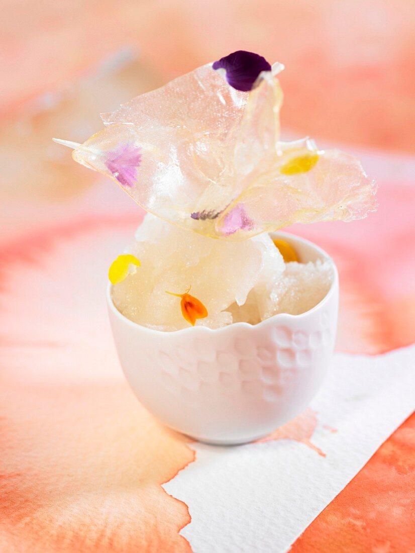 Honey and orange blossom sherbet ice