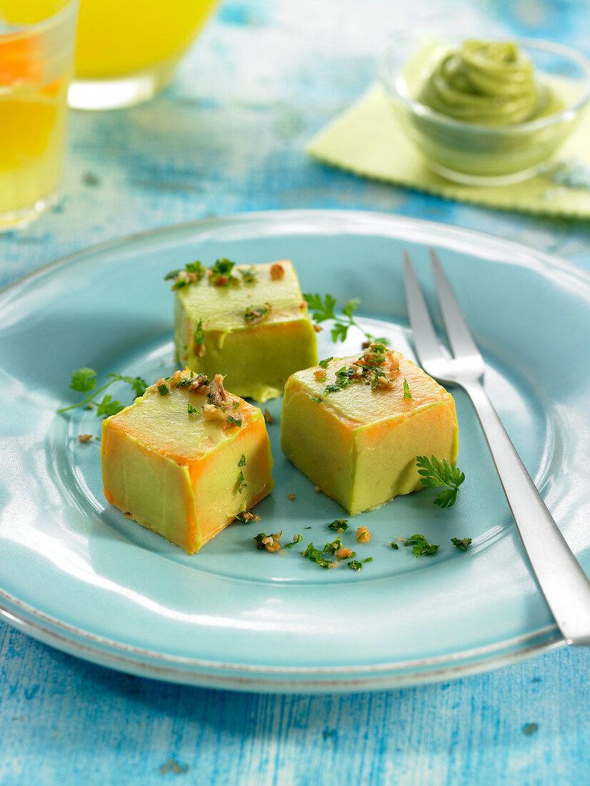 Sweet potato and avocado pureed cubes