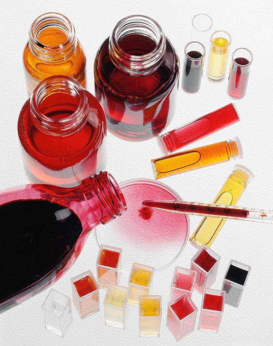 Composition of food coloring liquids
