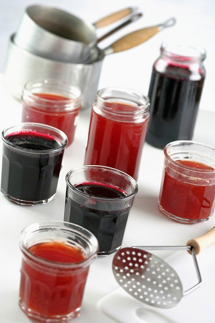 Blueberry jam and grape jelly