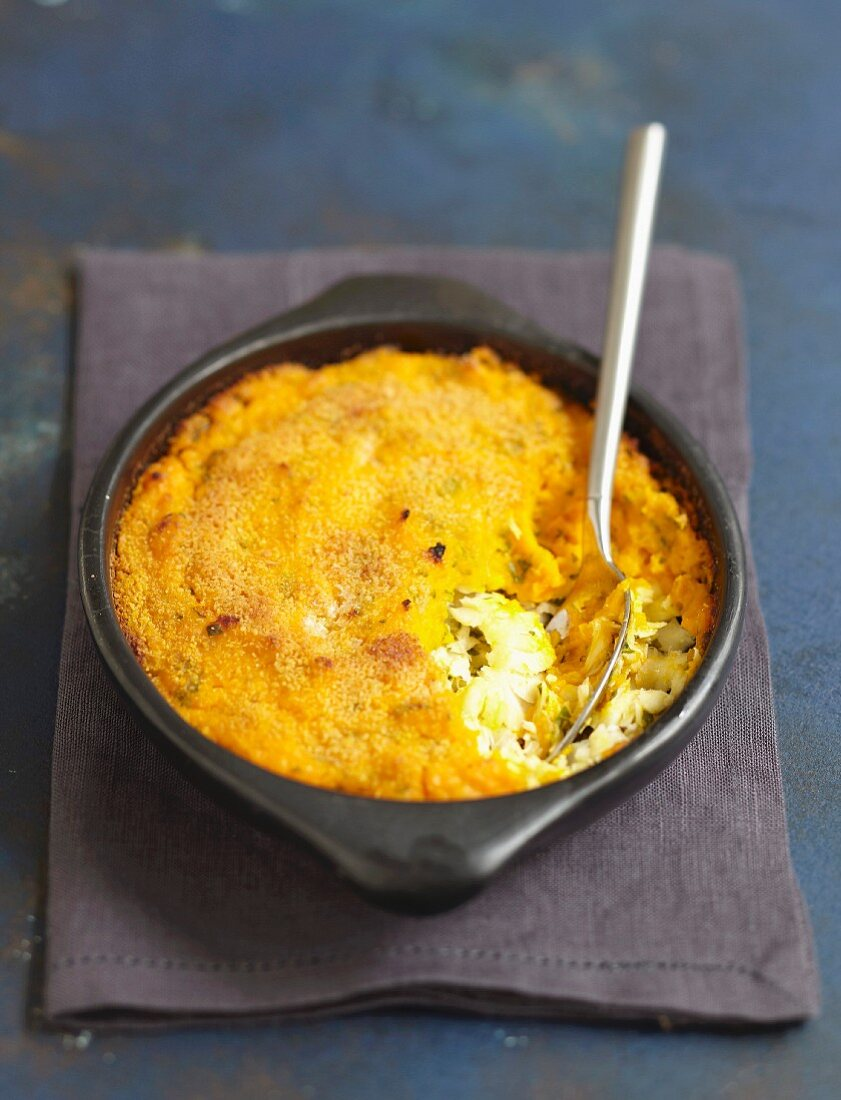 Cod and carrot puree bake