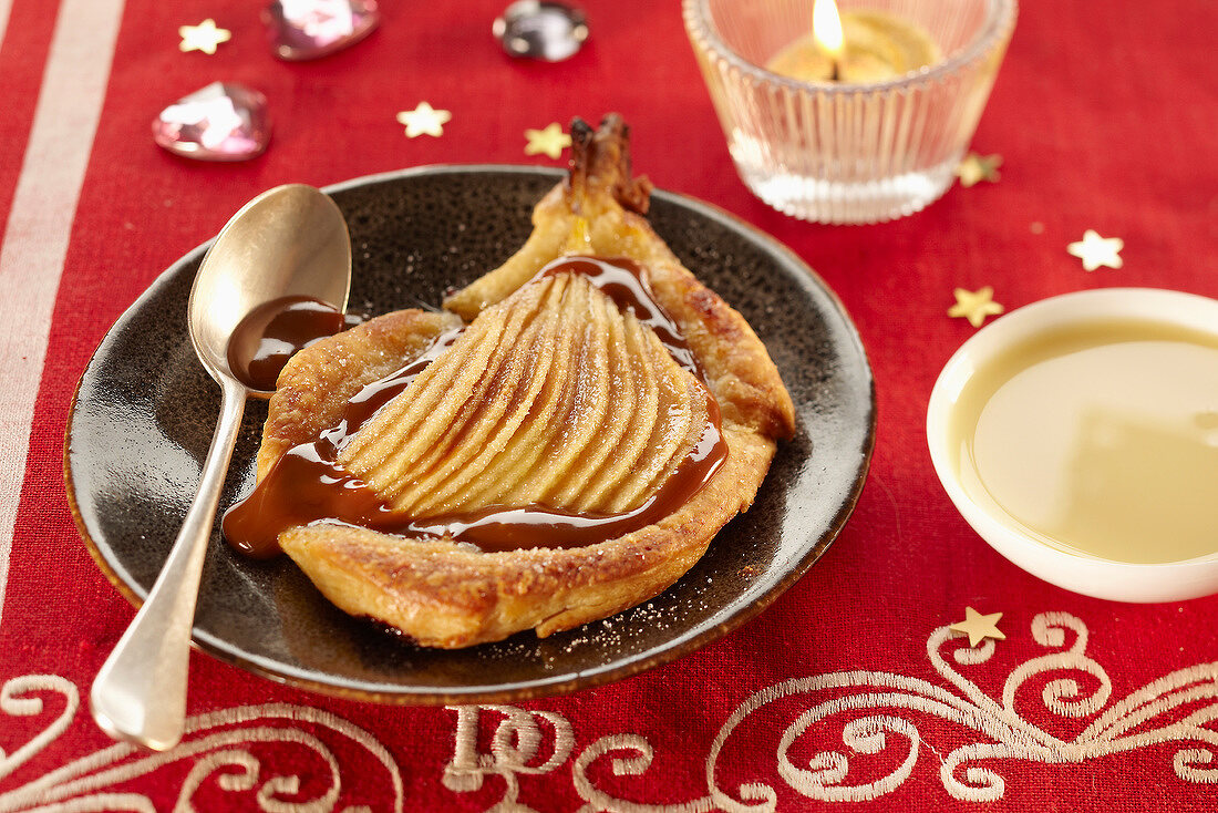 Soft pear and toffee flaky pastry tartlet