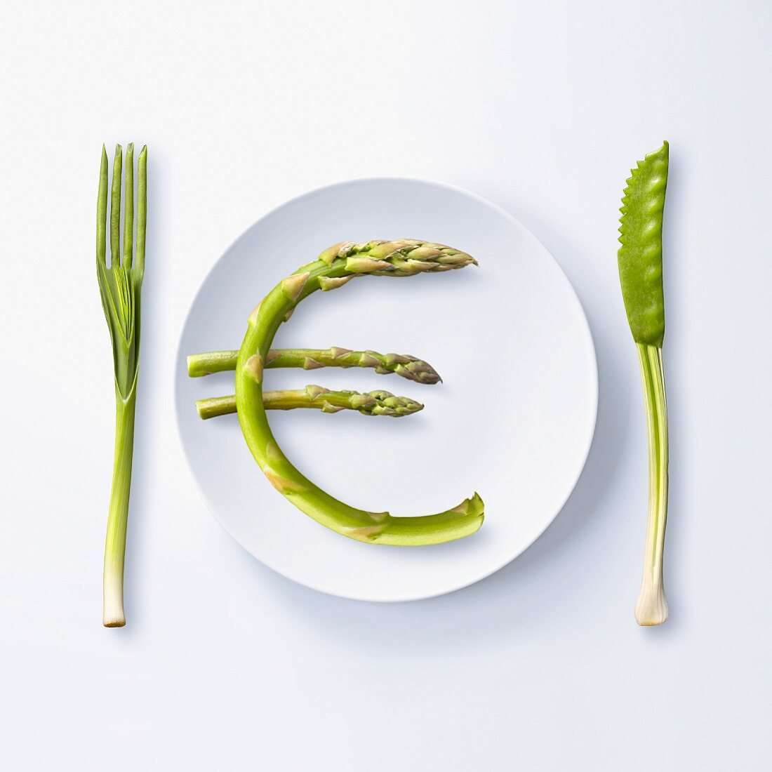 """""""""""""""?"""""""" written with green asparagus on a plate"""""""