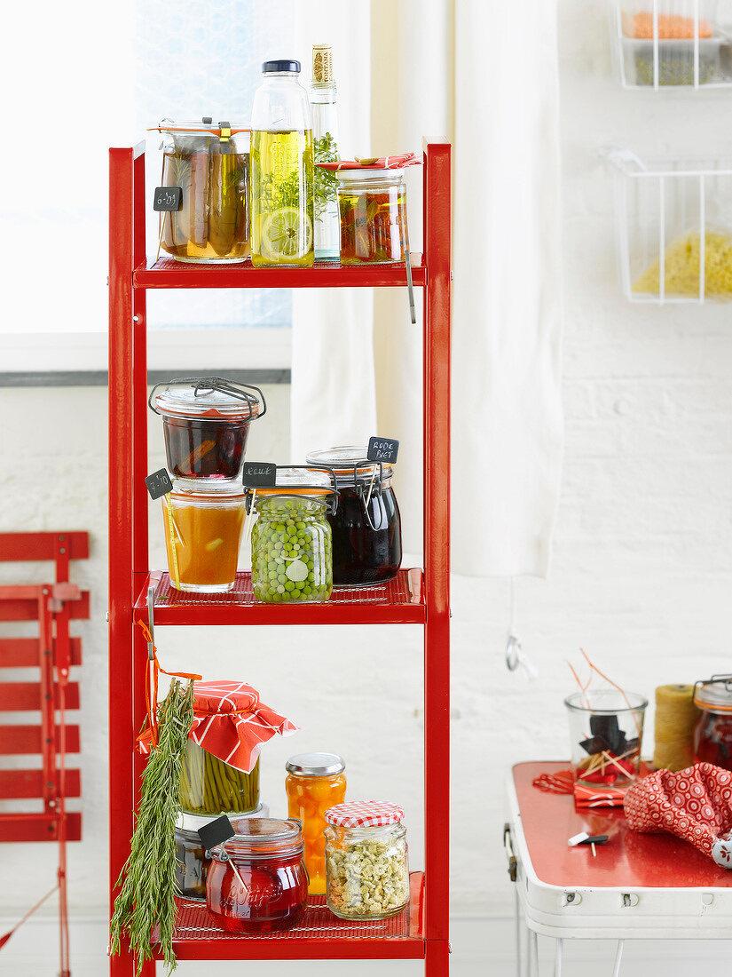 Jars of preserved food on shelves