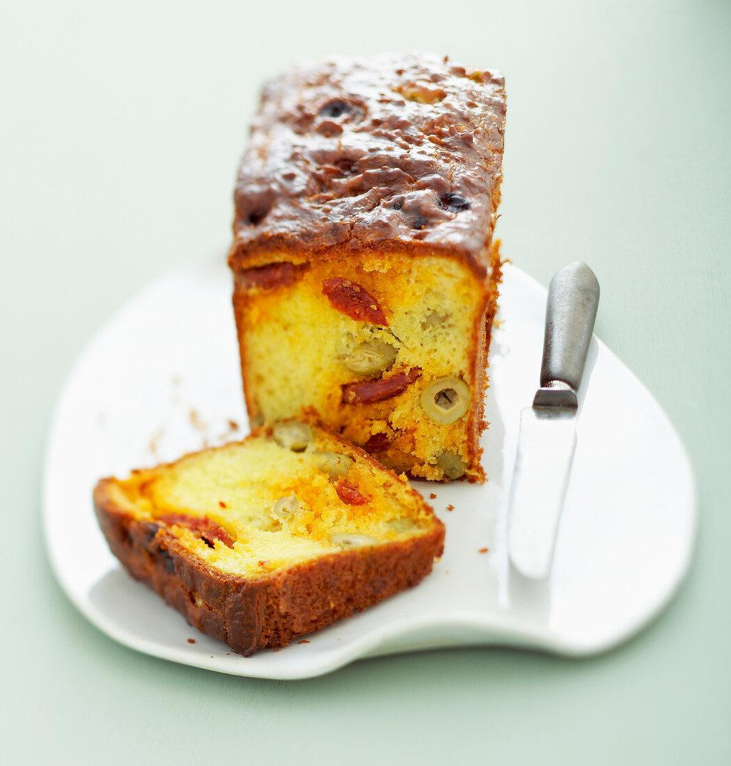 Chorizo-olive savoury loaf cake