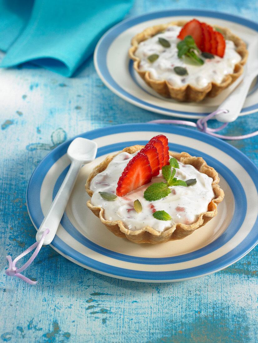 Mascarpone, strawberry and mint tartlets