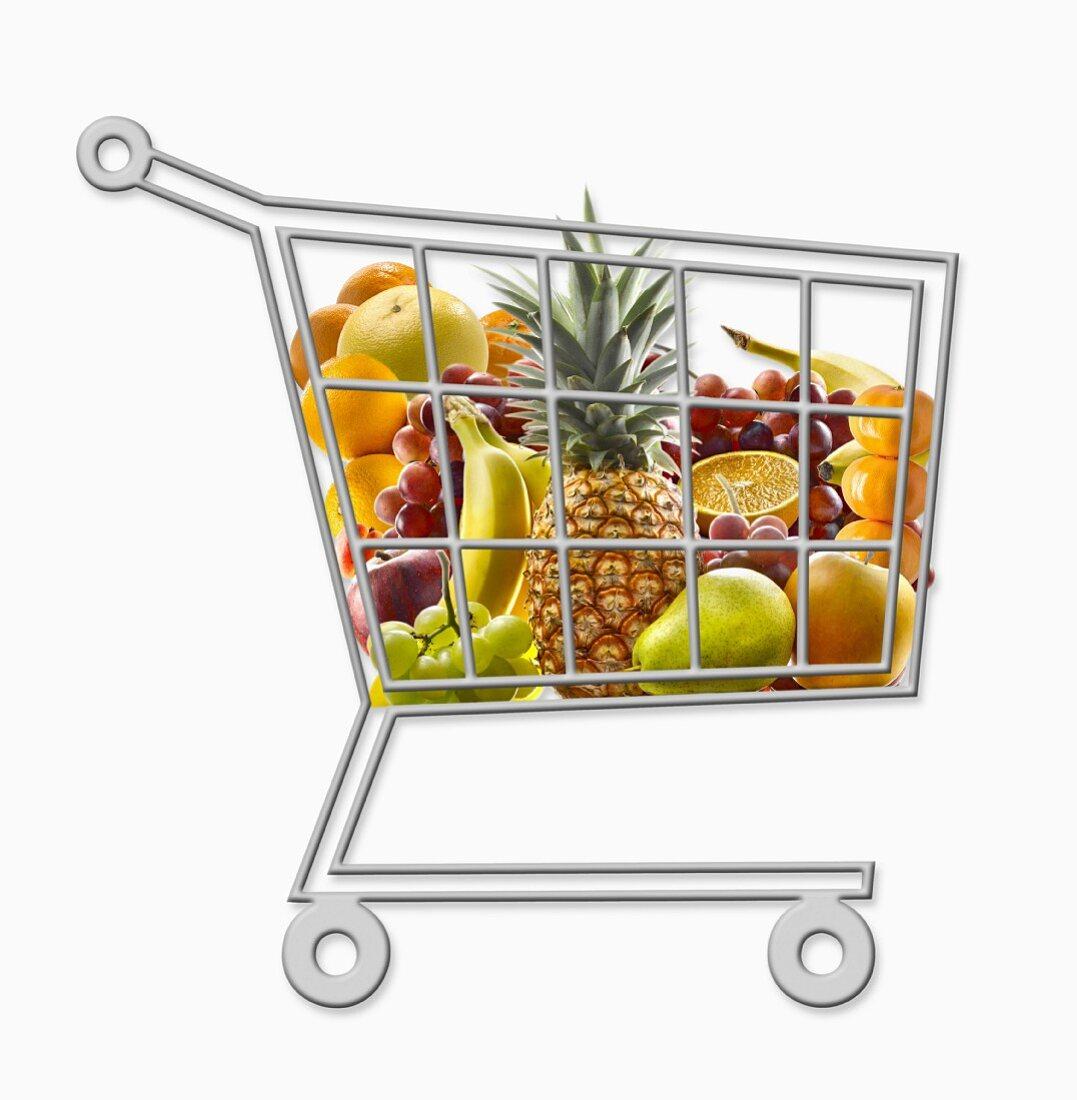 Mini supermarket trolley full of fresh fruit