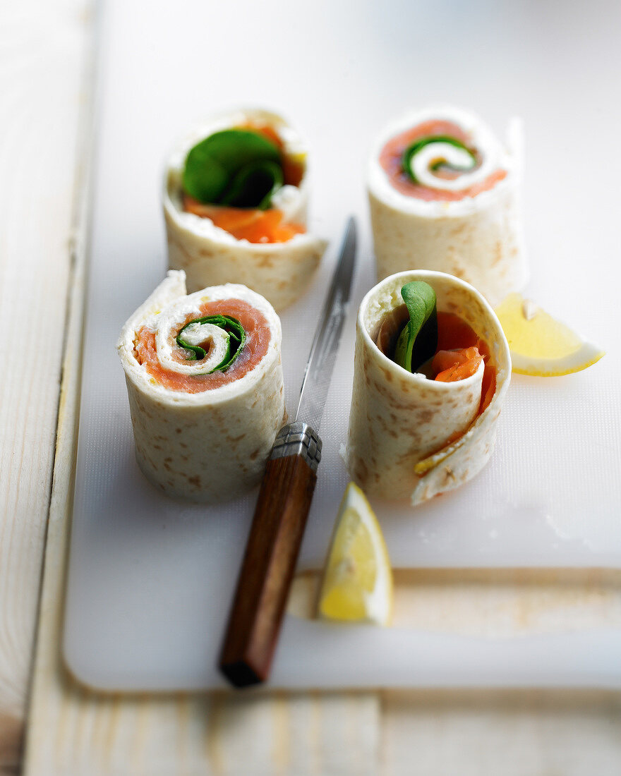 Smoked salmon and fresh spinach wrap