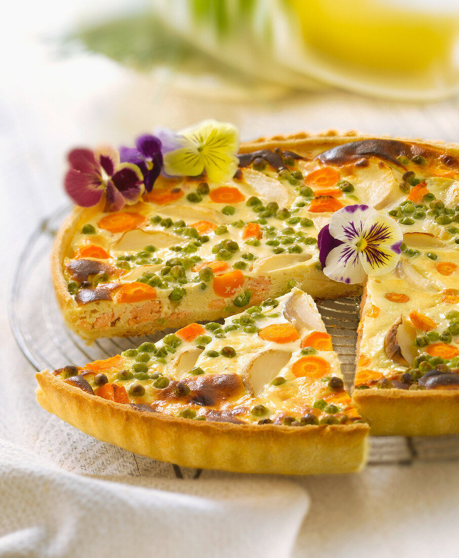 Salmon and spring vegetable savoury tart