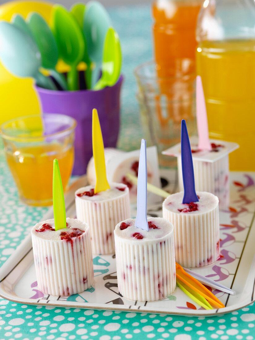 Strawberry Petit-suisse ice cream lollipops