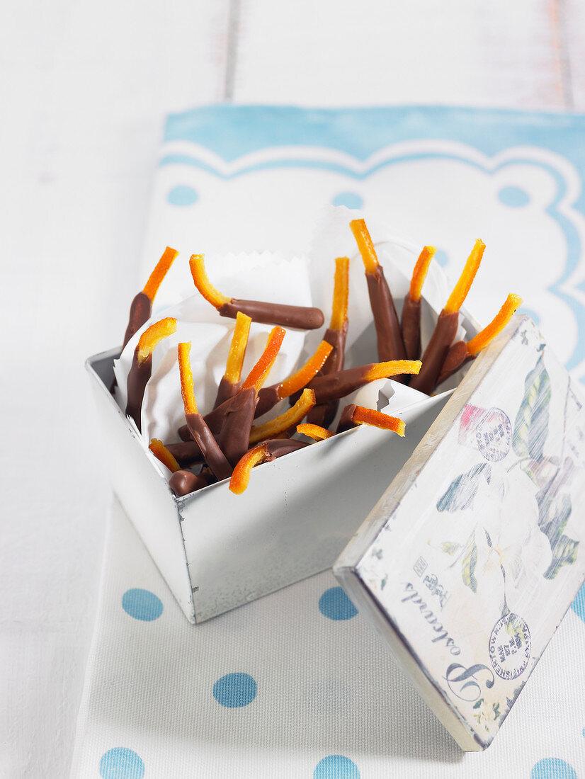 Confit orange rinds coated in milk chocolate