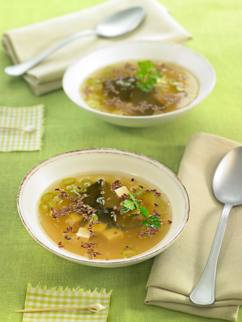 Miso soup with tofu and linseeds