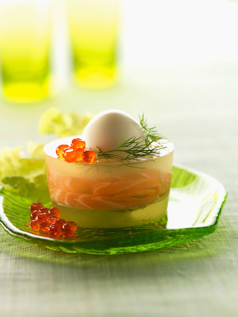 Egg with smoked salmon in aspic