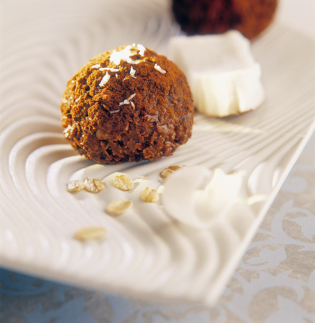 Chocolate, oat and coconut truffle