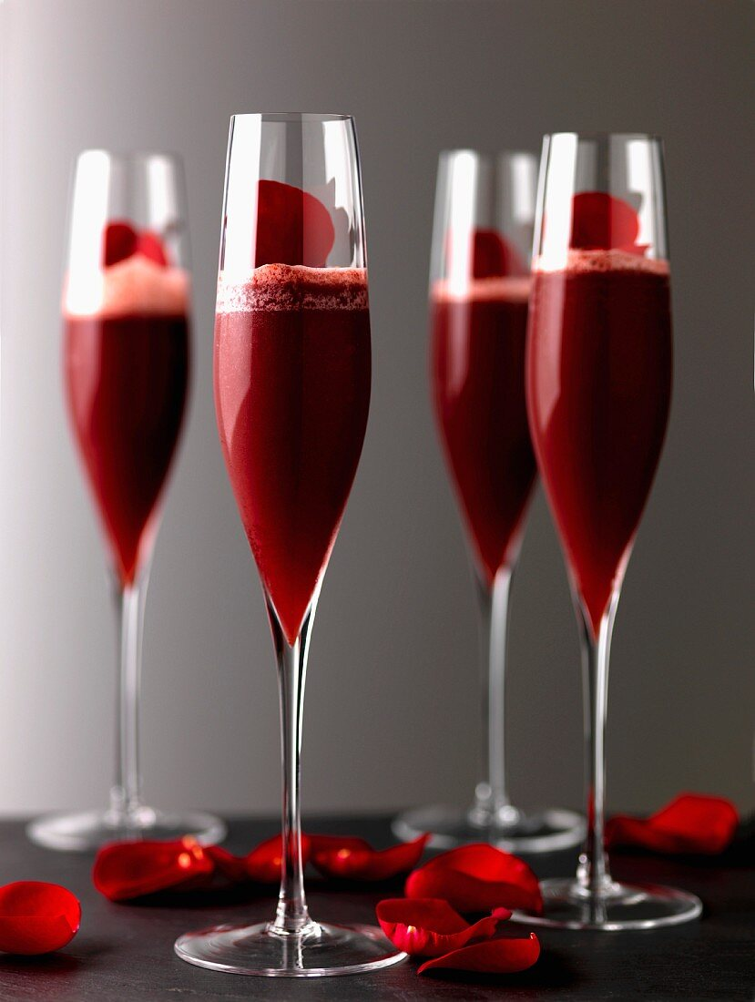 My funny Valentine made with vodka, griotte cherry liqueur and strawberry nectar