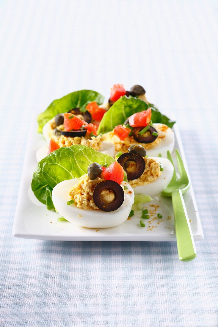 Hard-boiled eggs stuffed with creamed tuna