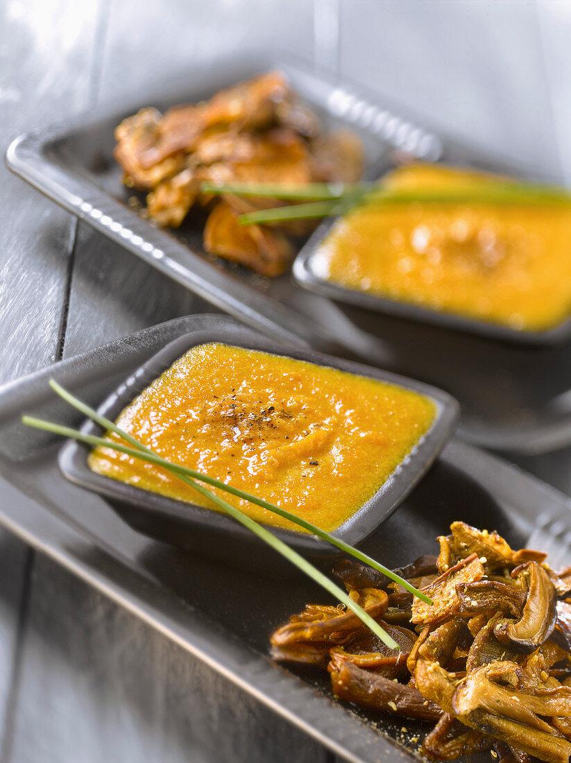 Pumpkin puree with pan-fried ceps