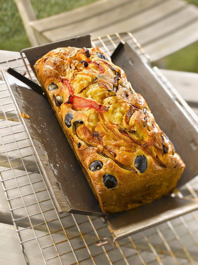 Grilled pepper, olive and pecorino savoury cake