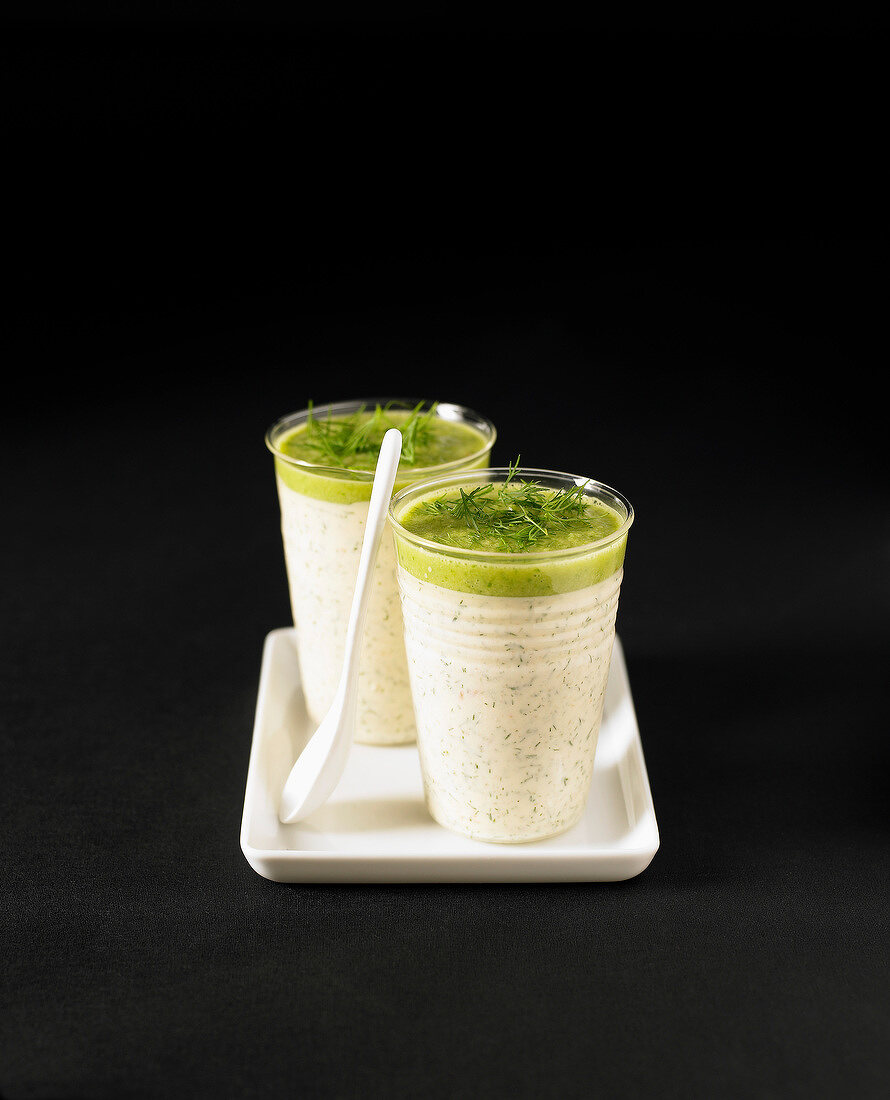 Smoked salmon panna cotta with cucumber and dill