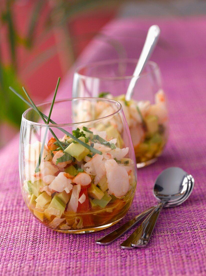 Diced avocado and shrimp cocktail