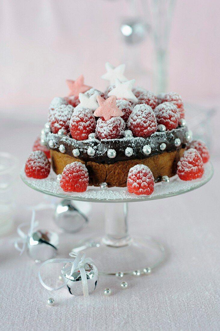 Chocolate ganache and raspberry shortbread cake