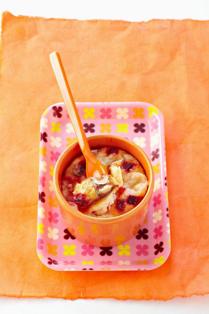Ricotta,parmesan,beetroot and hazelnut flan