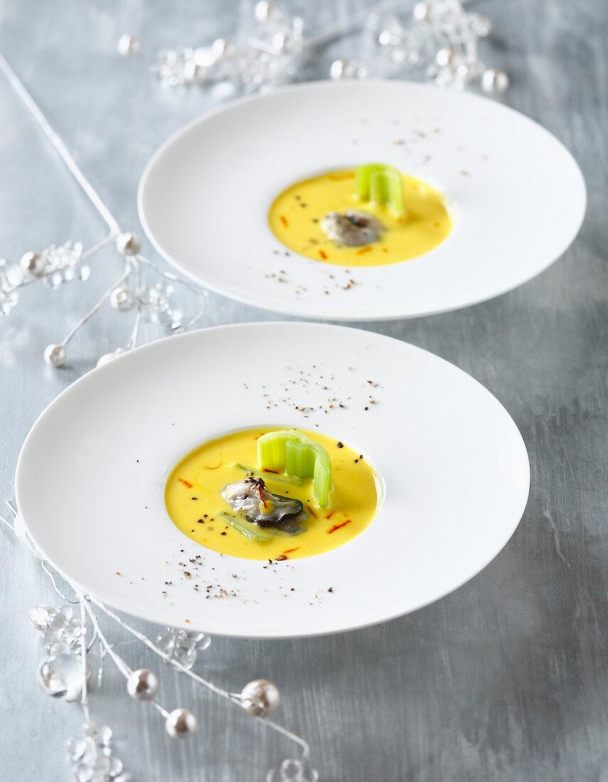 Saffron oyster soup