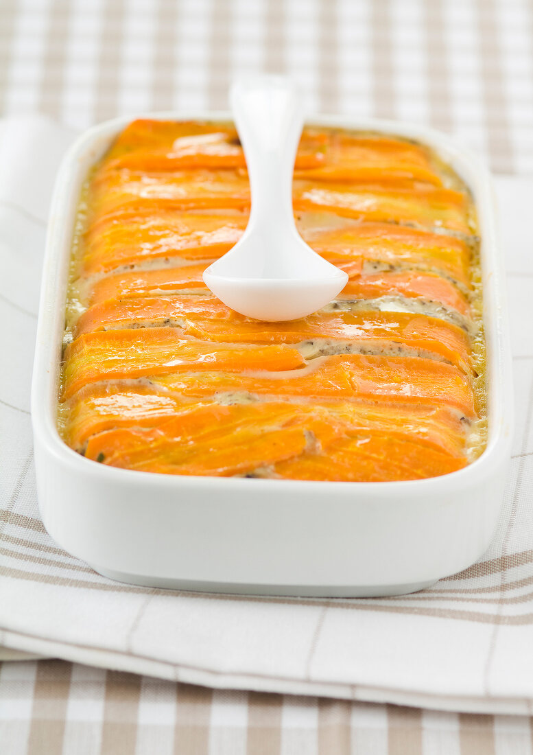 Potato,carrot,egg and Maroilles bake