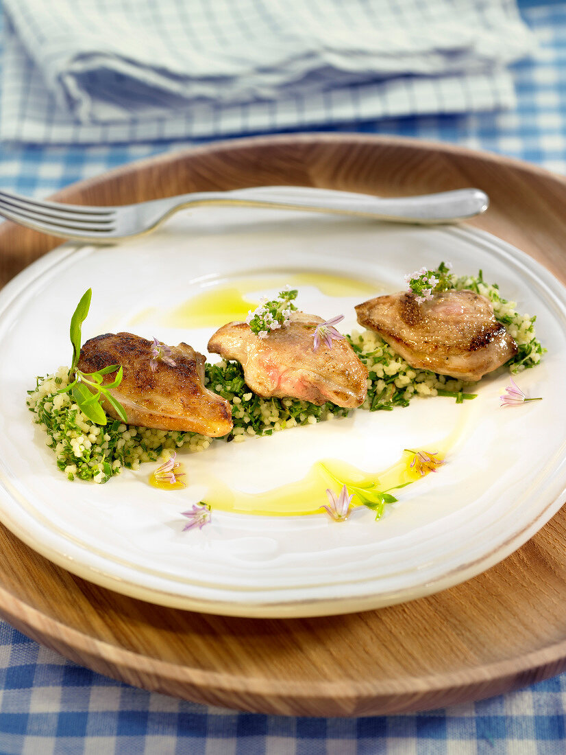 Roasted quail's breasts and semolina with herbs