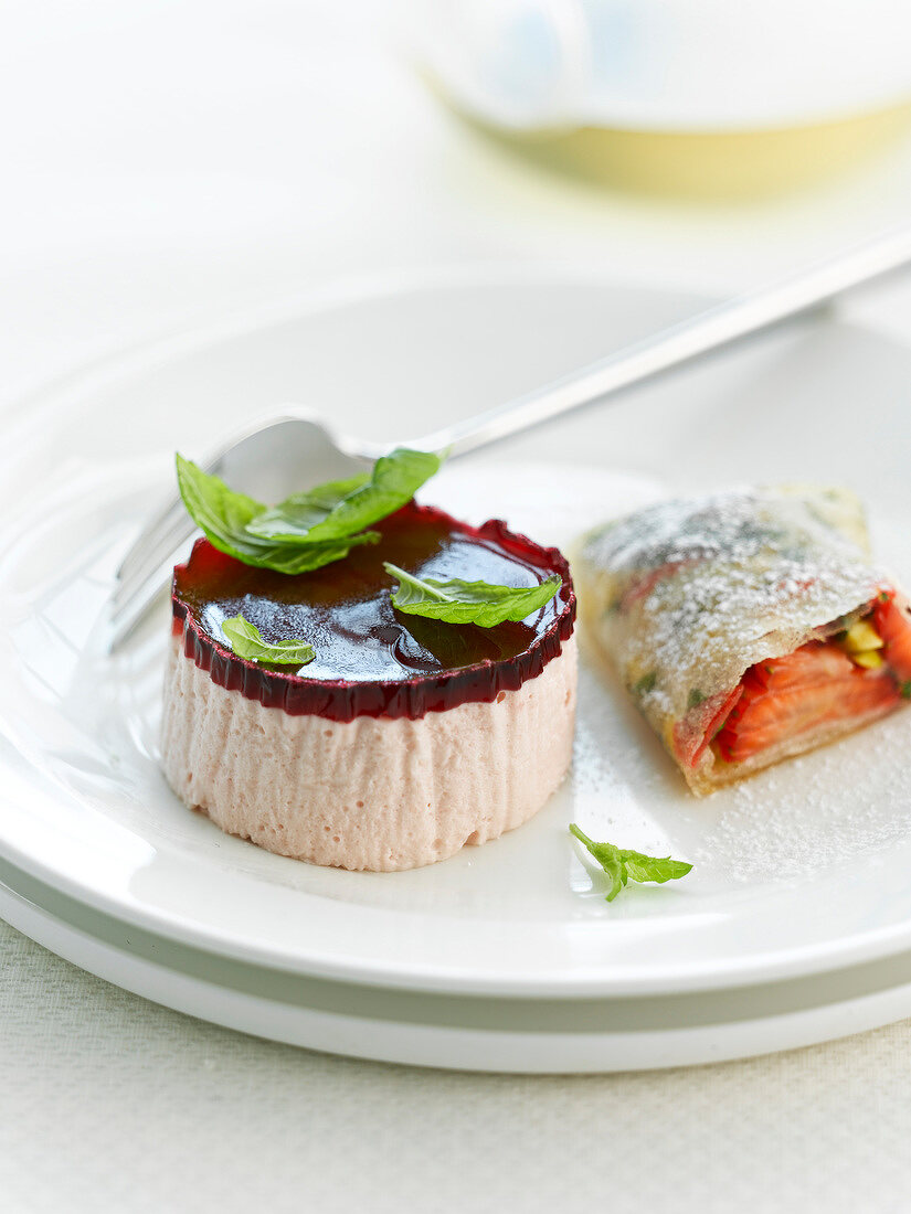 Individual bavarian and small crisp strawberry turnover