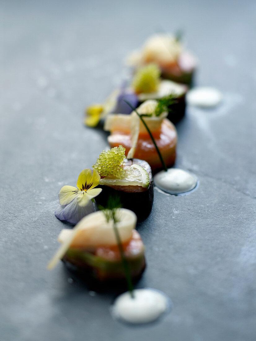 """""""Sashimi-style Banka trout, restaurant """"""""L'Atelier"""""""" in Ascain"""""""