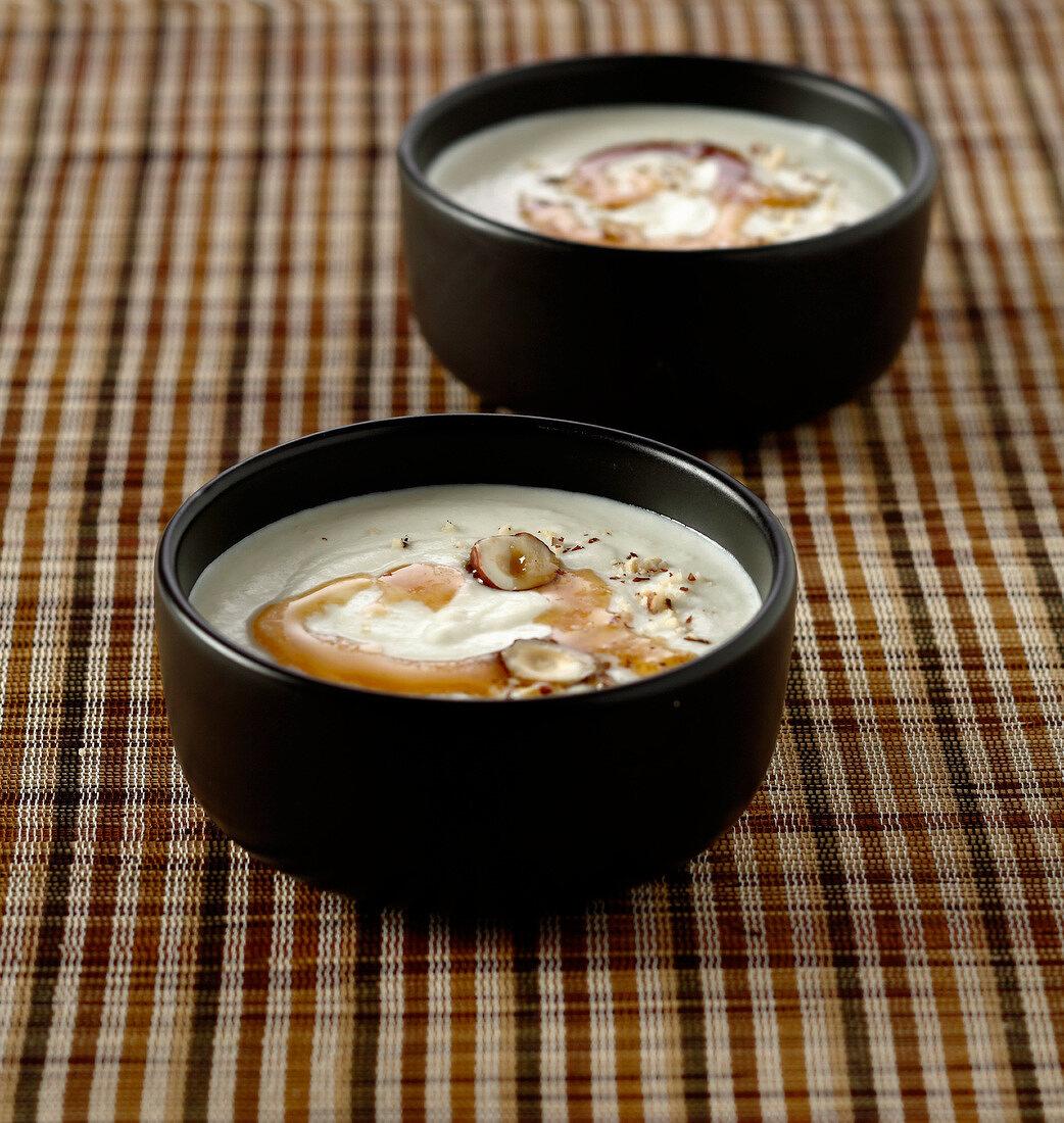 Cream of Jerusalem artichoke soup with hazelnut oil