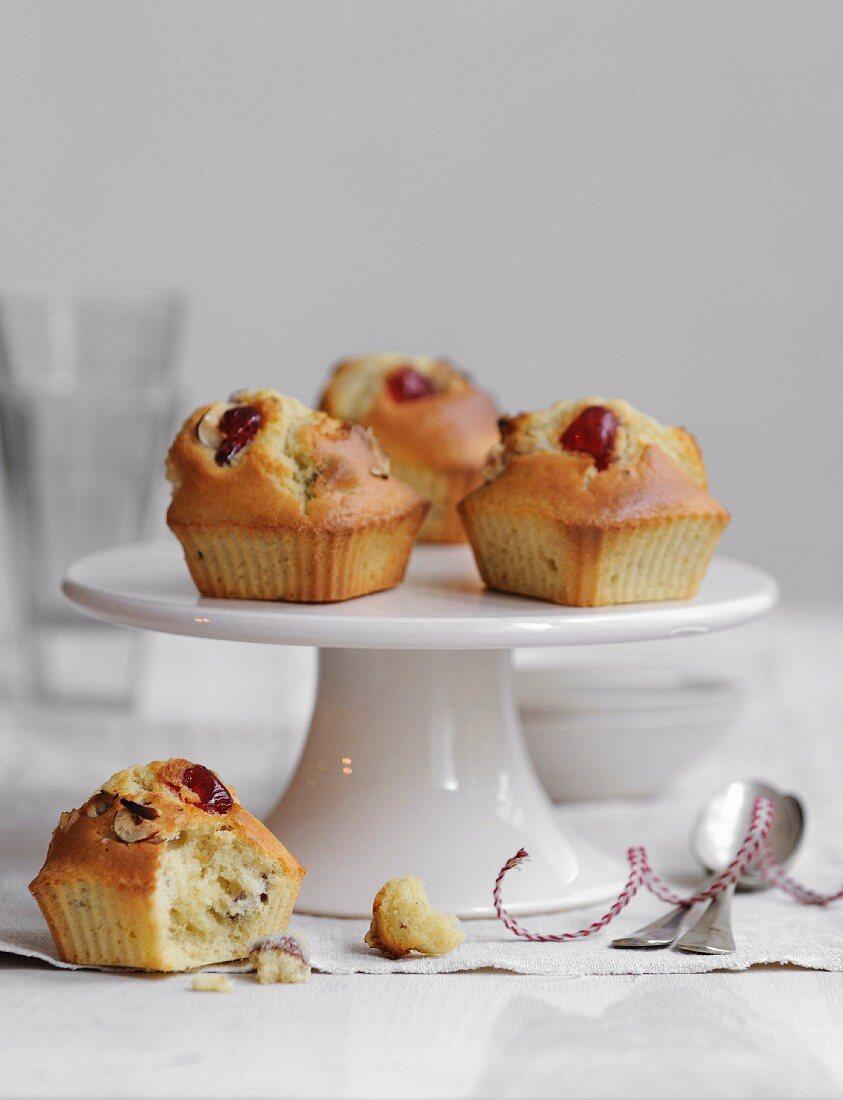 Candied cherry and hazelnut muffins