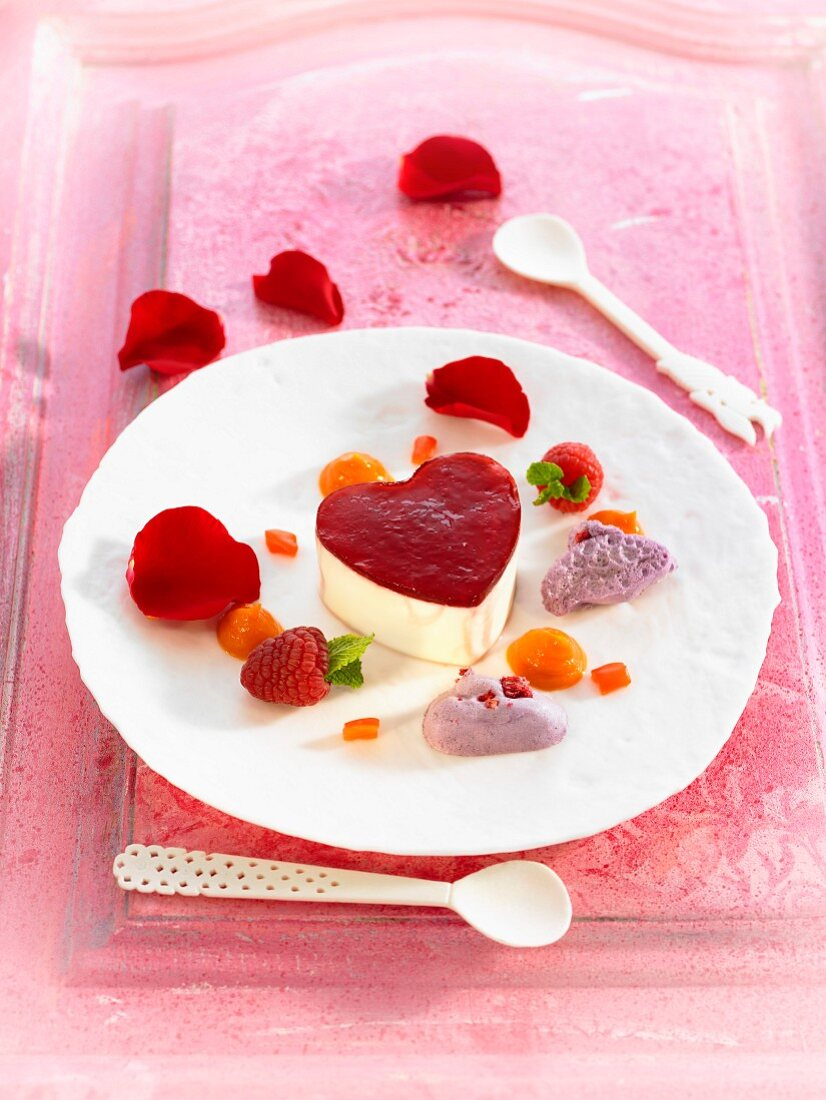 Mascarpone mousse with rose, pepper and raspberry jelly