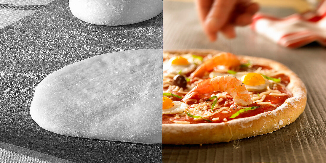 Pizza before and after cooking