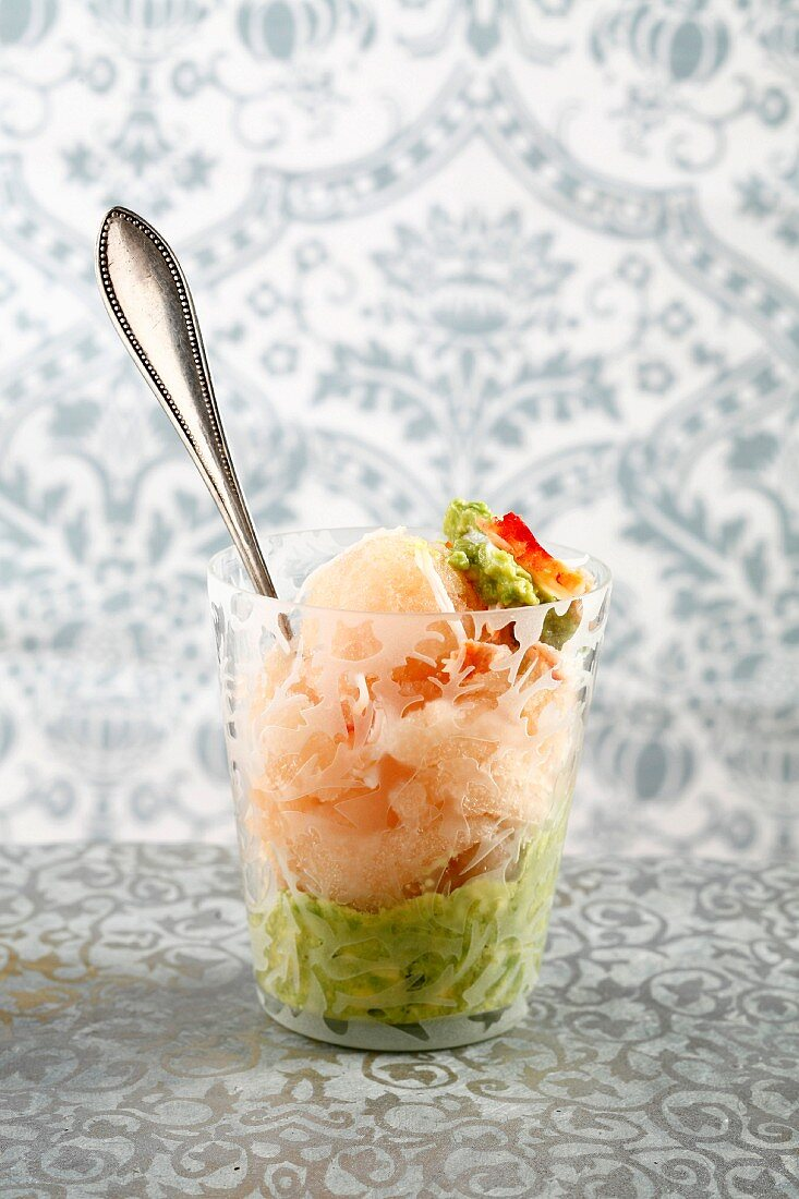 Grapefruit sorbet with avocado purée and crab meat
