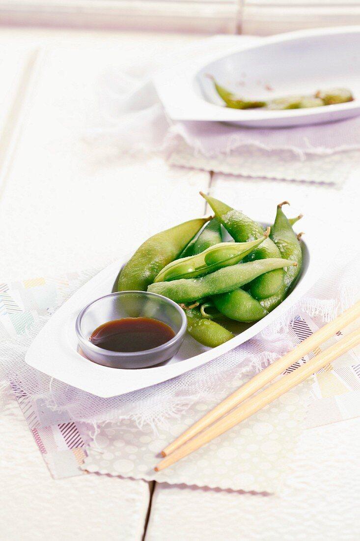Edamame with soya sauce
