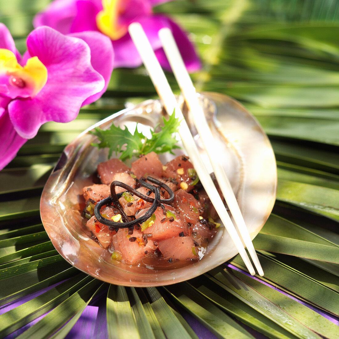 Ahi Poke, marinierter Thunfisch, Hawaii