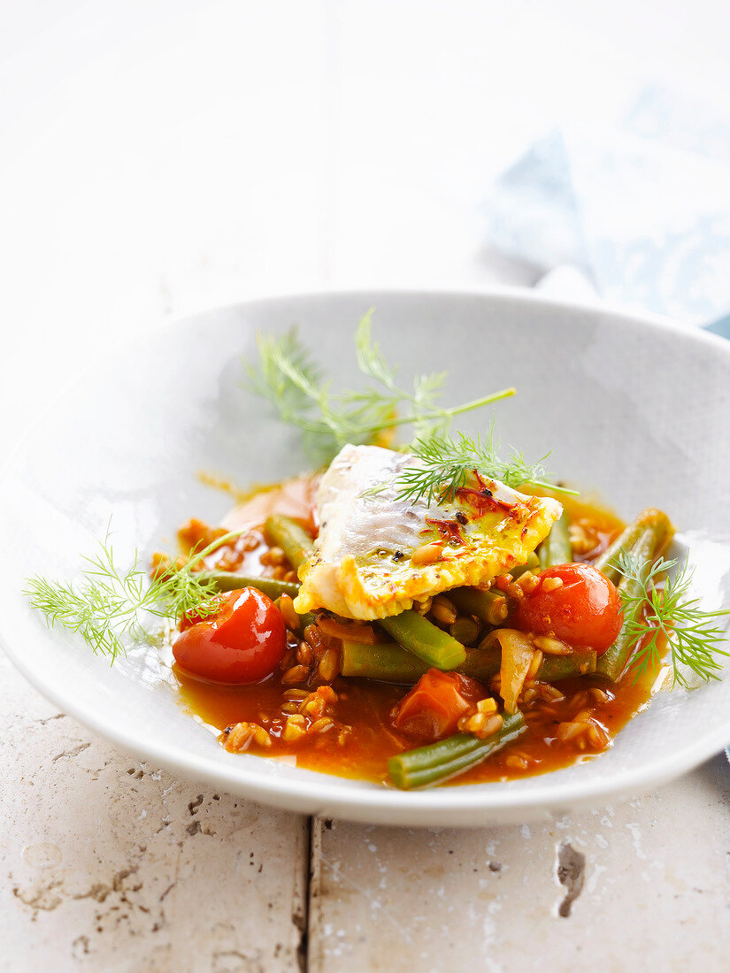 Perch fillet with spelt,green beans and cherry tomatoes