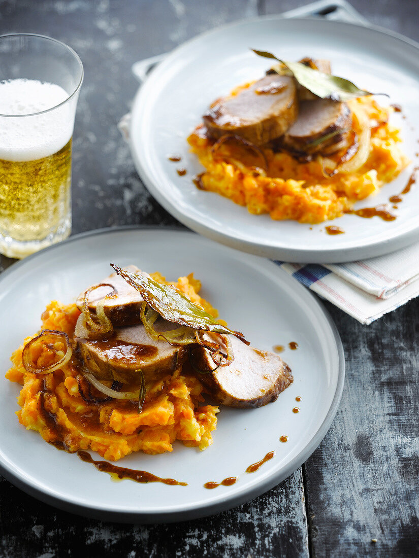 Roast pork in beer sauce,carrot mash