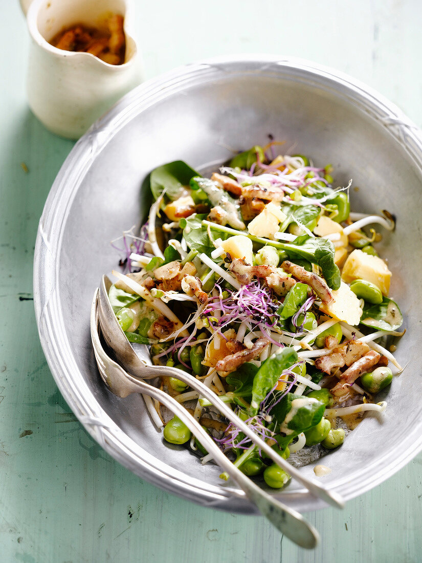 Warm broad bean,spinach,chicken and soya salad