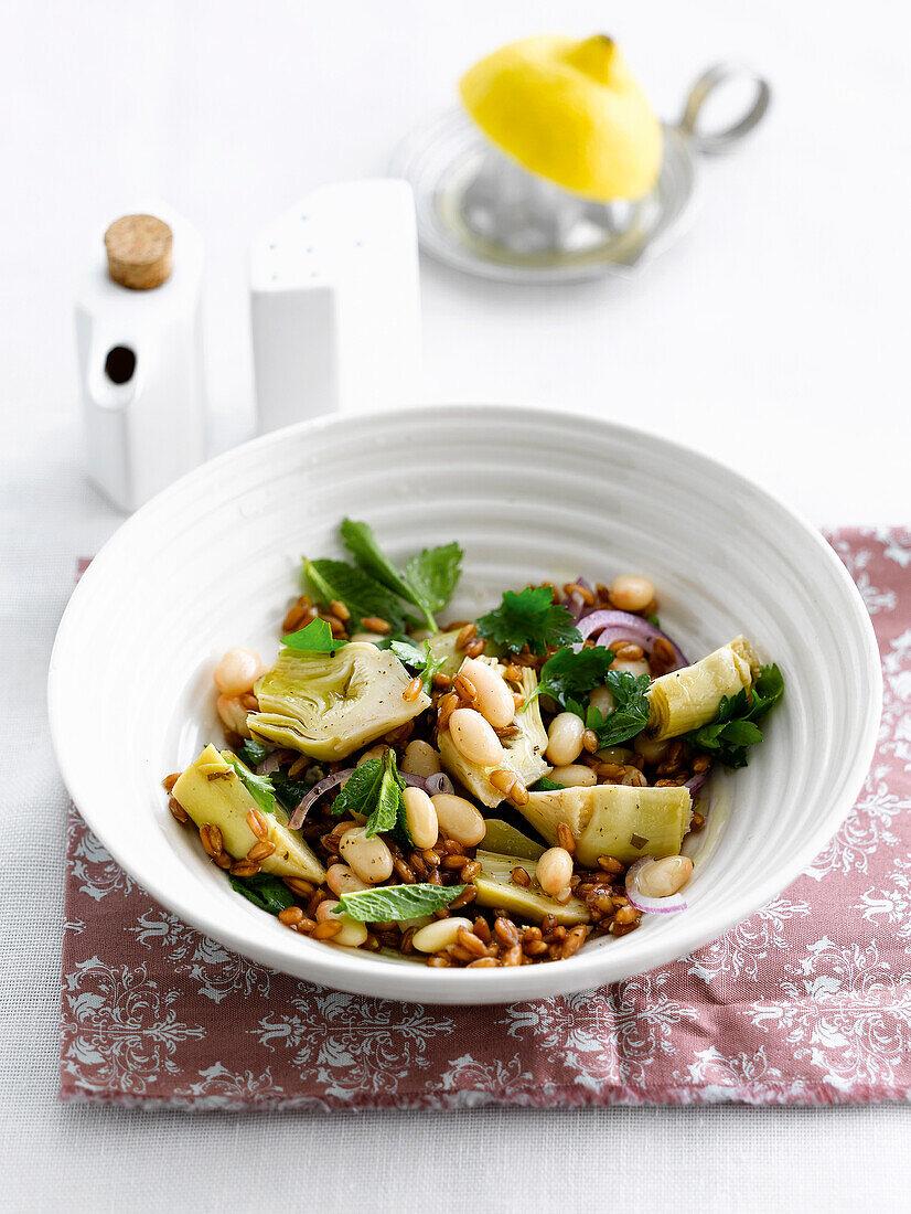 Spelt,white haricot bean and artichoke salad
