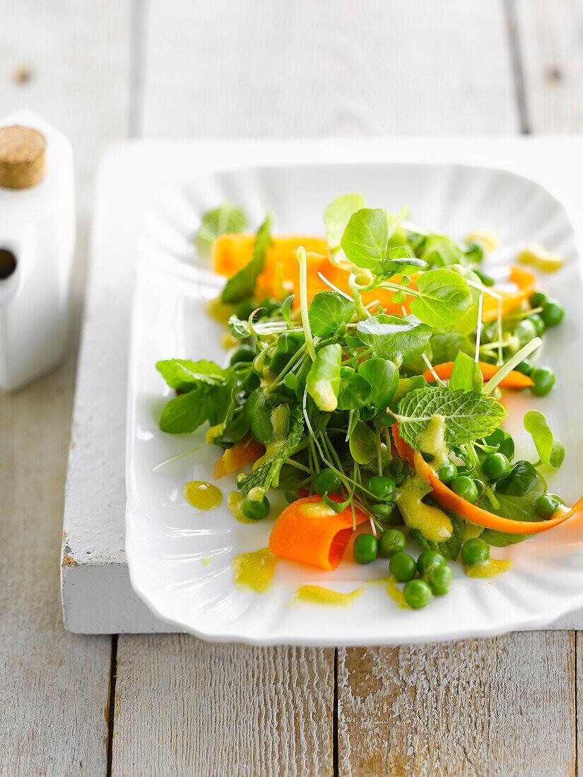 Pea,watercress and carrot lettuce with mango vinaigrette