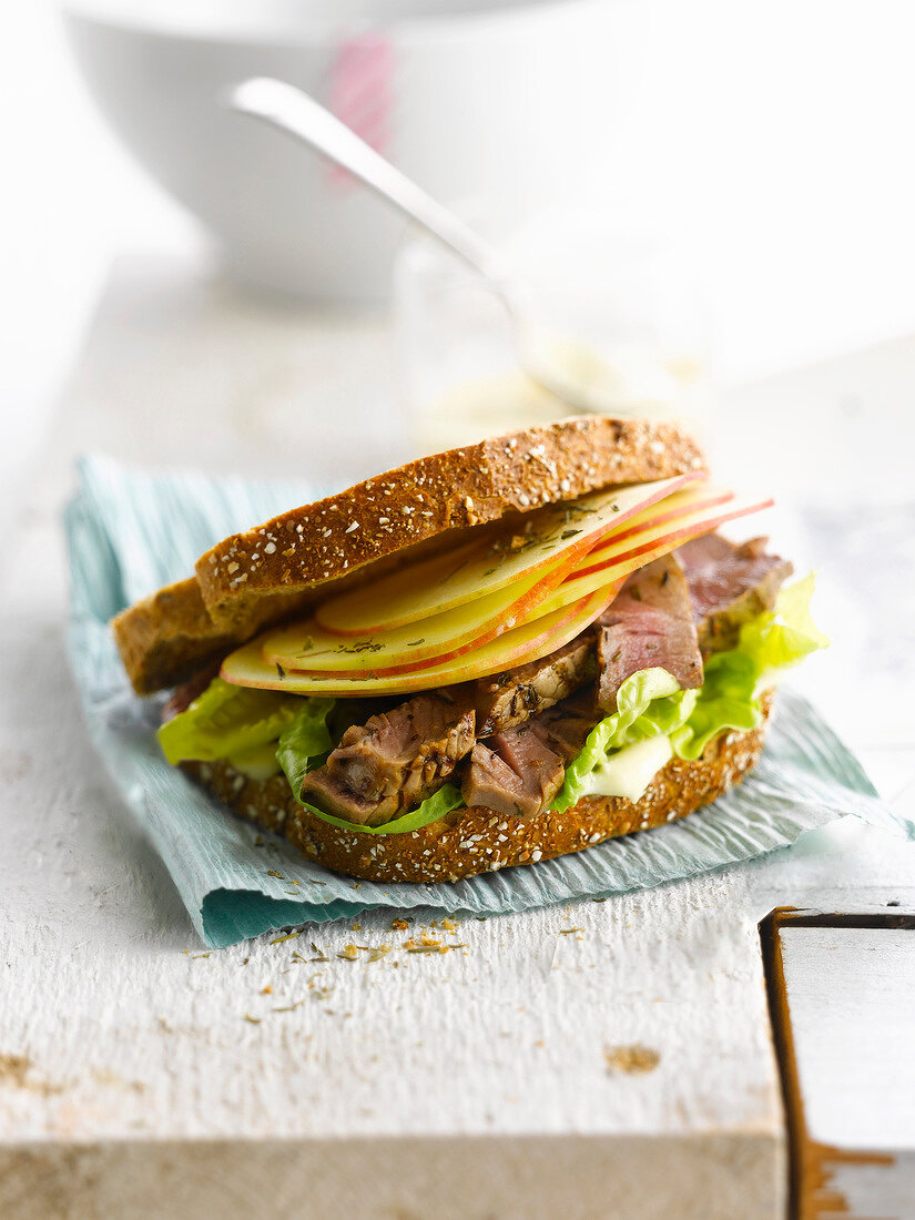 Beef and apple sandwich