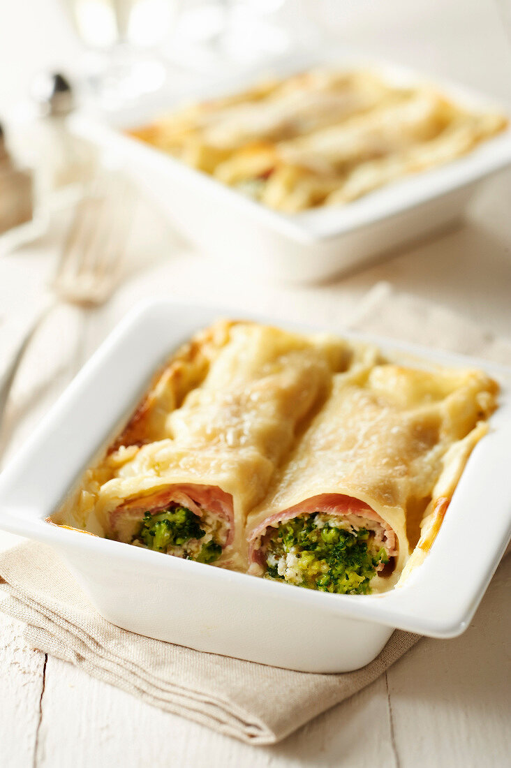Petit Billy, broccoli and ham cannellonis