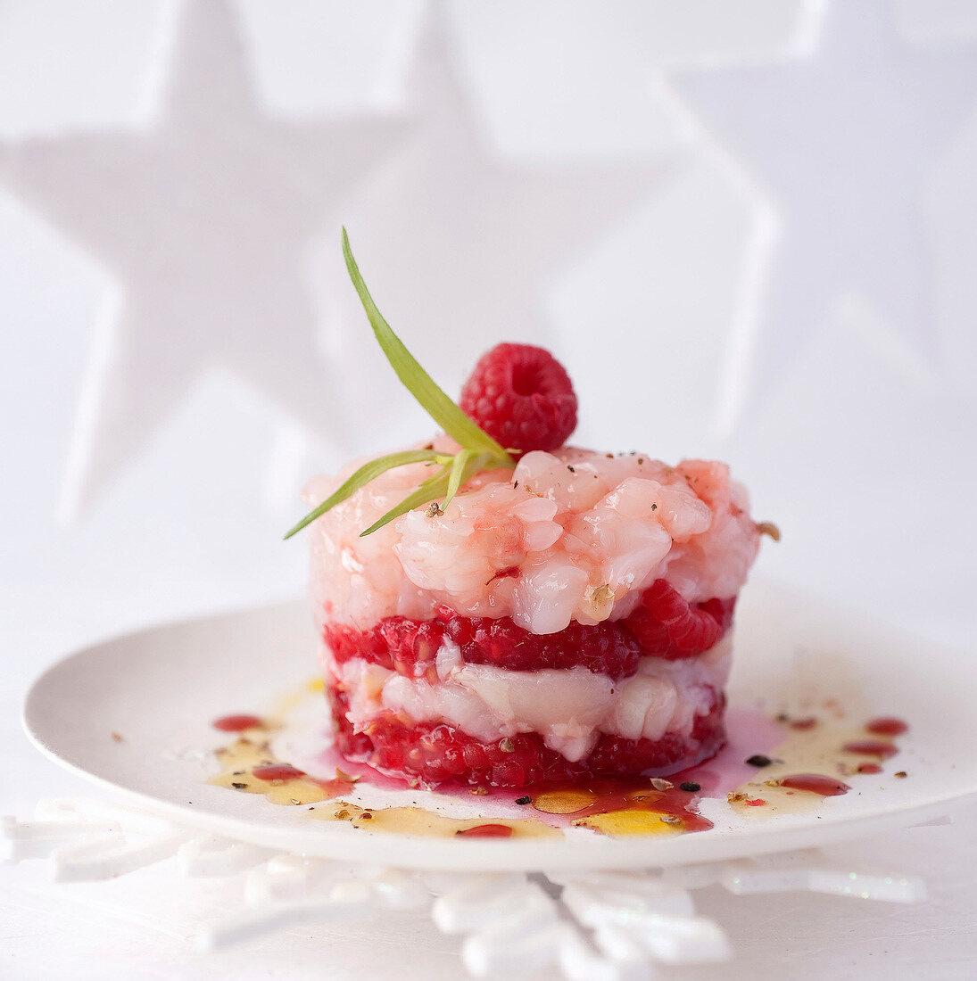 Dublin Bay prawn,raspberry and lychee tartare