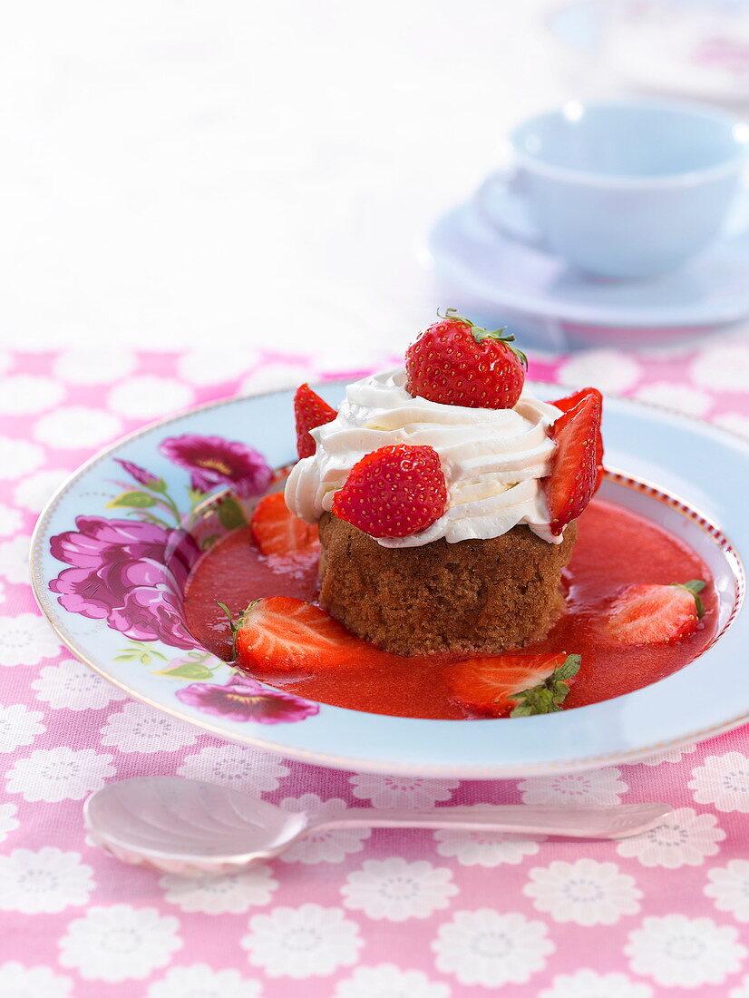 Ispahan strawberry tart-style cupcake