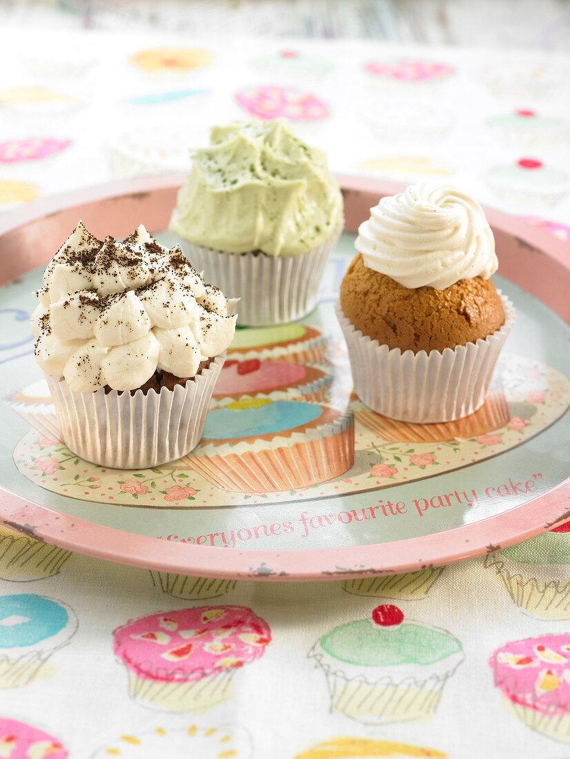 Green tea,mango and cappuccino cupcakes
