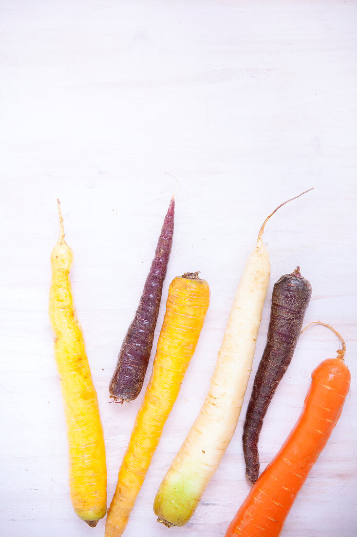 Different colored raw carrots