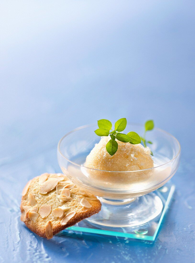 Peach sorbet with an almond tuile
